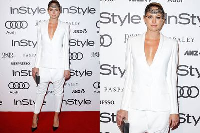 A crown fit for a (catwalk) queen! Jesinta Campbell stuns in a white suit by Aussie designers Camilla and Marc.