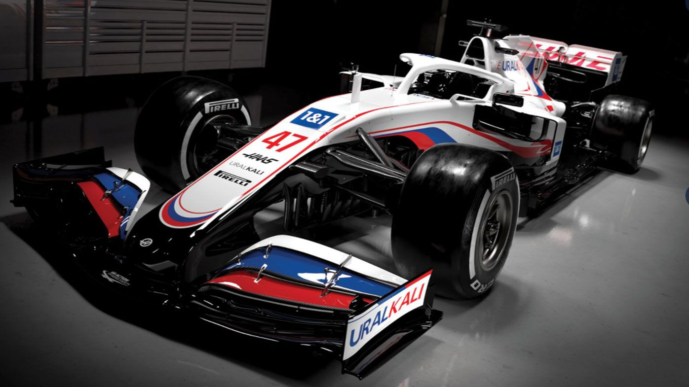 The Haas 2021 Formula One car, to be driven by Mick Schumacher and Nikita Mazepin.
