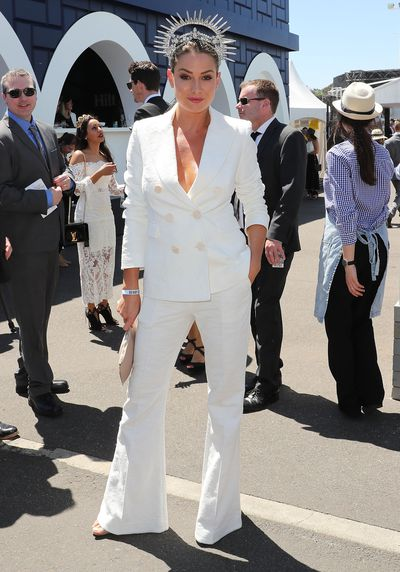 "<p>3) Wear the pants</p> <p>Reality television's Lisa Clark in Camilla and Marc on Derby Day.<br style=""box-sizing: border-box;""> </p>"