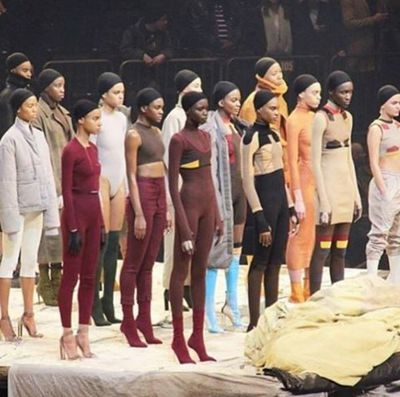 The collection continued Kanye West's previous shapes and themes with streetwear and body stockings.