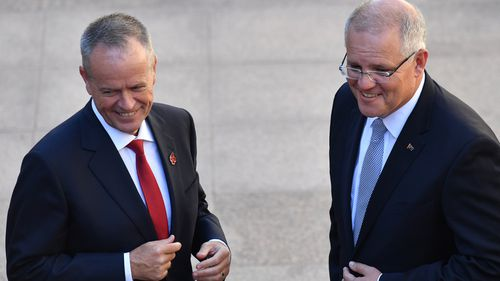 Opposition leader Bill Shorten and Scott Morrison attend the Last Post Ceremony at the Australian War Memorial in Canberra yesterday.