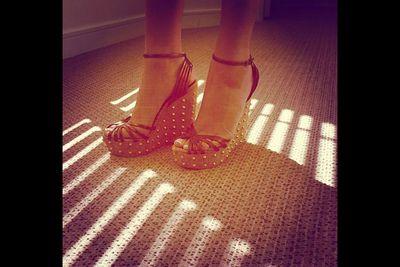 "@jackiegilliestv: ""Boom pulling my sparkles out !! For media day best foot forward #GUCCI #WEDGES #shineshineshine XXXX #teamjackie @rhomelbourne"""