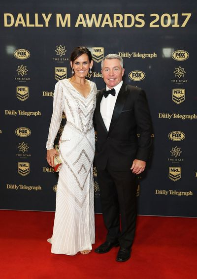 North Queensland coach Paul Green with wifeAmanda looking positive ahead of Sunday's decider. (Getty)