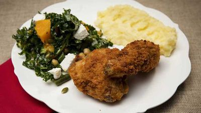 "Recipe:&nbsp;<a href=""https://kitchen.nine.com.au/2017/11/07/12/20/family-food-fight-the-shahrouk-sisters-fried-chicken-with-mash-and-kale-and-pumpkin-salad"" target=""_top"">The Shahrouk sisters' fried chicken with mash and kale and pumpkin salad</a>"