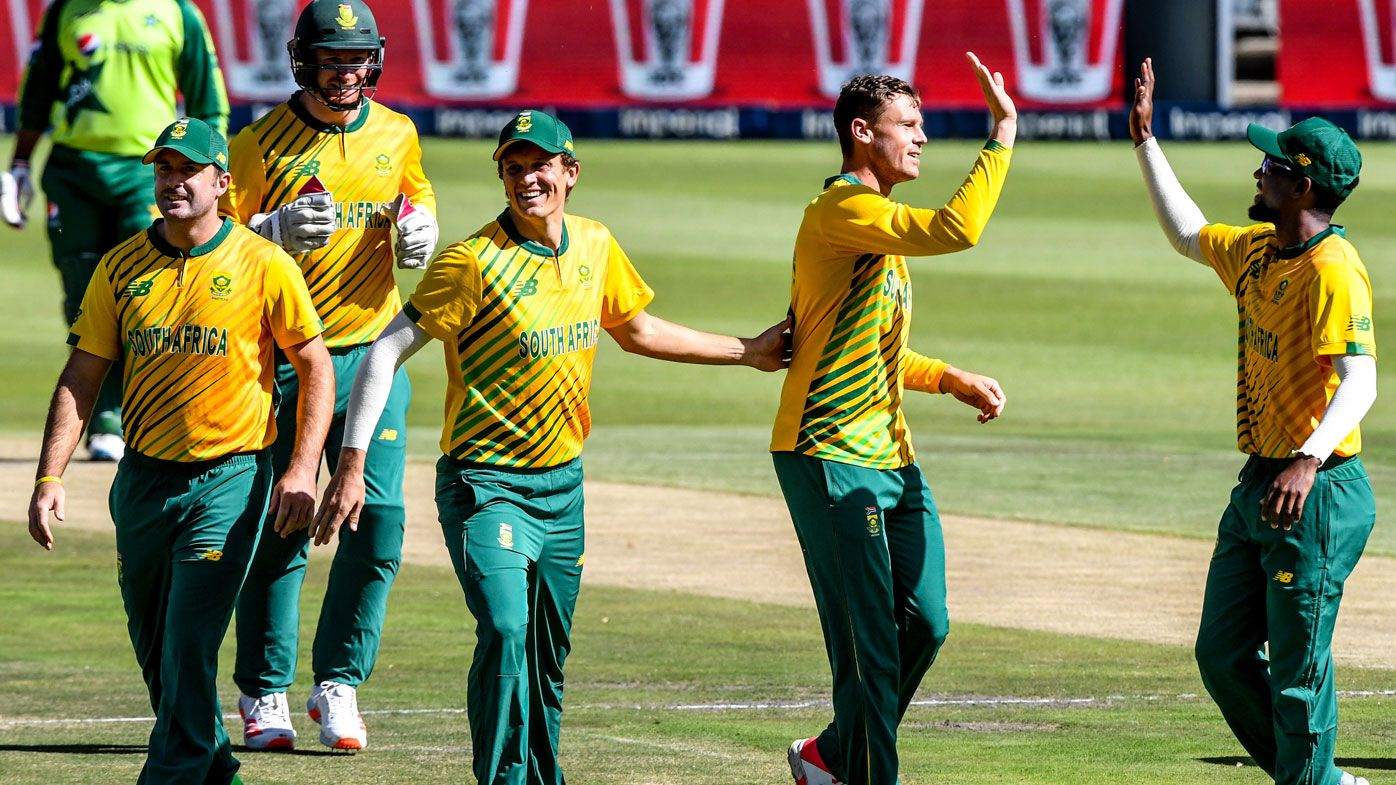 South Africa celebrate in a T20 against Pakistan. (Getty)