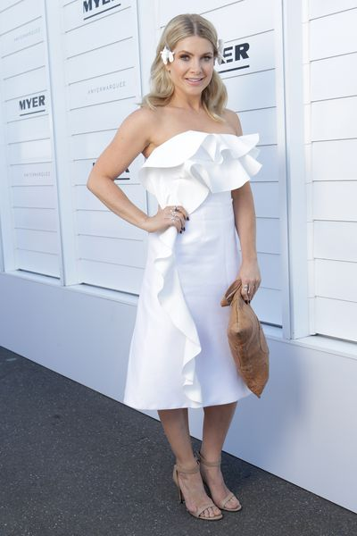 <p>Hit: Natalie Bassingthwaite picked the perfect By Johnny dress with sweet ruffles in a flattering off-the-shoulder style.</p> <p>Miss: Ditch the overwhelming, regular handbag for a clutch.</p>