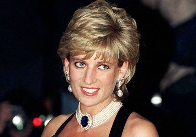 Princess Diana wearing black evening gown