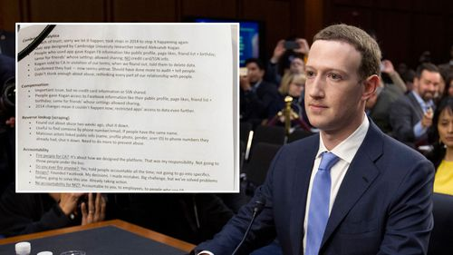 Mr Zuckerberg wrote a series of notes during the hearing. (AAP)