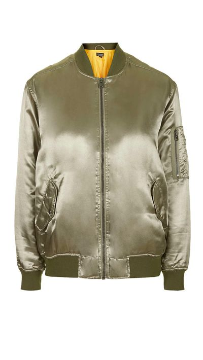 "<a href=""http://www.topshop.com/en/tsuk/product/clothing-427/jackets-coats-2390889/bomber-jackets-3107199/high-shine-ma1-bomber-jacket-4281141"" target=""_blank"">Jacket, $125, Topshop</a>"