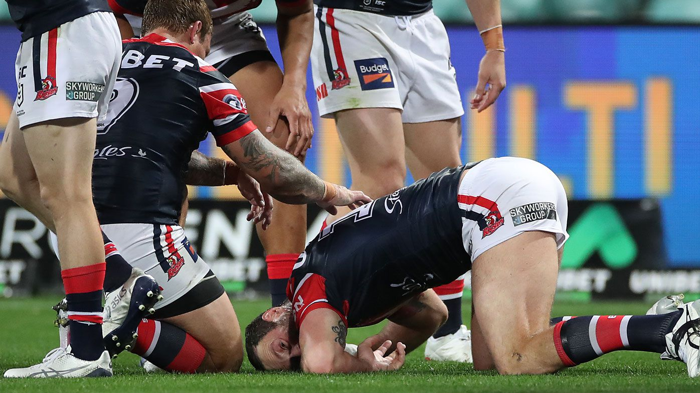 Boyd Cordner goes down with another head-knock at the SCG. (Getty)
