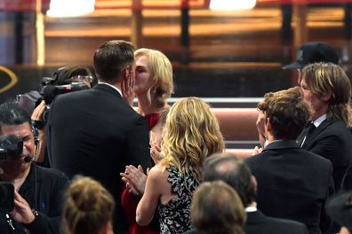 Nicole Kidman kisses Alexander Skarsgård at the 2017 Primetime Emmy Awards