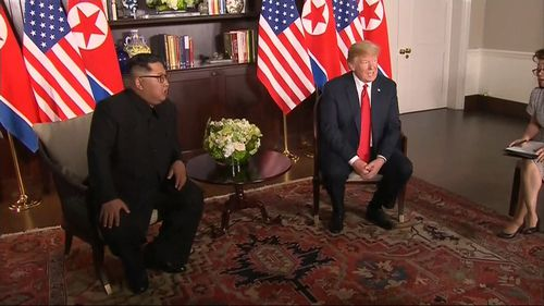 Trump and Kim pictured during yesterday's summit in Singapore.