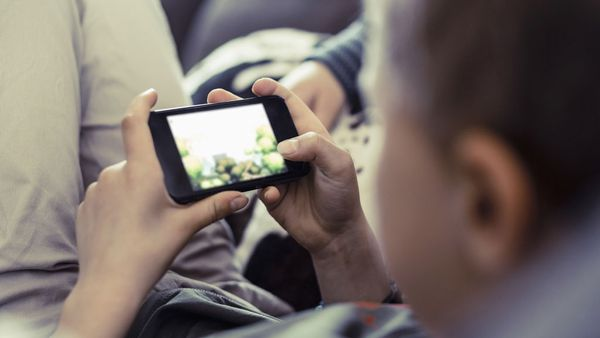 Child using mobile phone