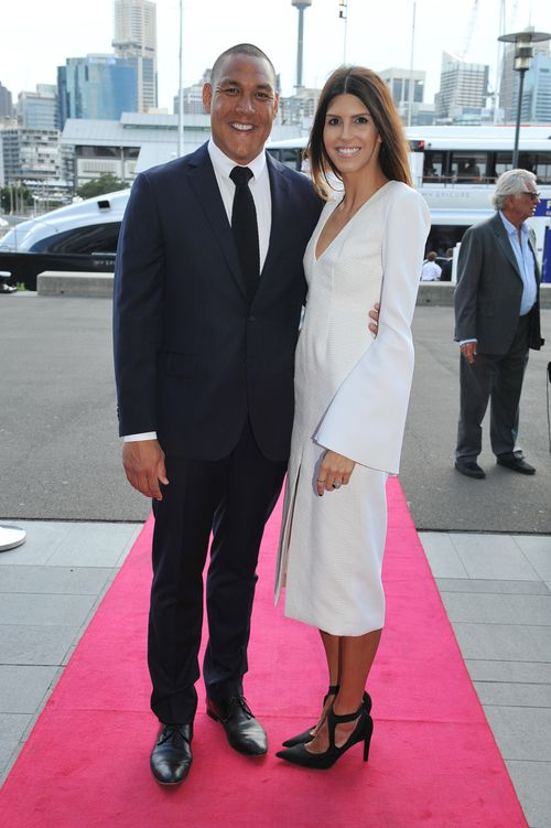 Geoff and Sara Huegill attend the Loyal Foundation Sail with the Stars Gala Dinner in 2014. Picture: AAP