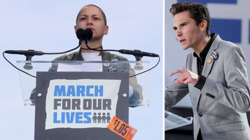 Marjory Stoneman Douglas students Emma Gonzalez, left, and David Hogg address the crowds in Washington DC. (AP).