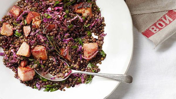 Lentils with speck