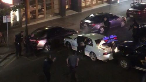The chase ended when STAR force officers rammed his car in Hindley Street in Adelaide's CBD in front of scared onlookers. Picture: 9NEWS