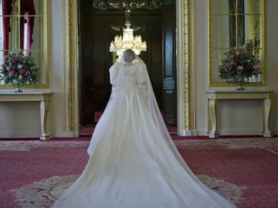 A scene showing Princess Diana on her wedding day from The Crown Season 4