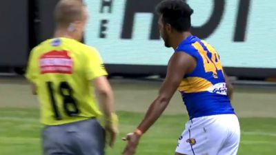 Rising AFL star could be in trouble for 'bum tap' on umpire