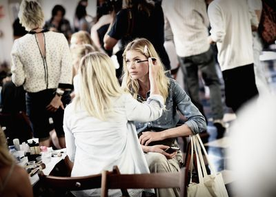 <p>Doutzen Kroes getting her make-up done.</p>