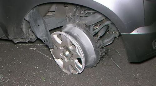 The stolen vehicle blew two tyres before eventually coming to a stop on Mackinnon Parade in North Adelaide.