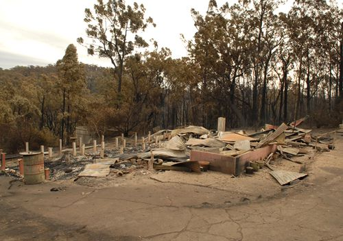 Two people died inside this house which was burned to the ground in a bushfire started by former volunteer fireman Brendan Sokaluk.
