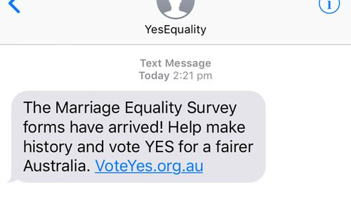 Vote Yes text messages have been sent. (Supplied)