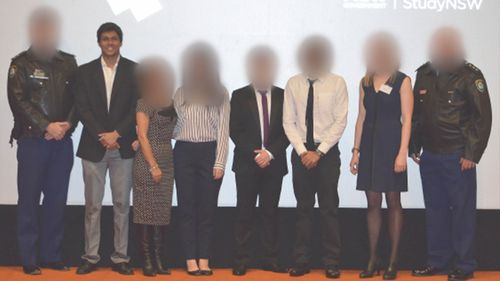 The terror suspect has been photographed with police officers at UNSW.