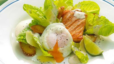 "Recipe: <a href=""http://kitchen.nine.com.au/2017/06/15/22/20/salmon-caesar-salad"" target=""_top"" draggable=""false"">Salmon Caesar salad</a>"