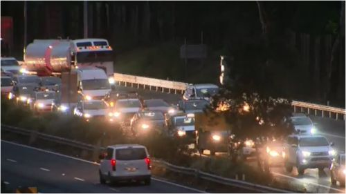 Traffic banked more than 13 kilometres after crash in Sydney's north.