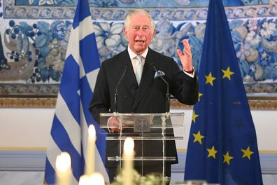 Prince Charles, Prince of Wales delivers a speech while attending a dinner and reception hosted by Her Excellency the President of the Hellenic Republic, Katerina Sakellaropoulou at the Presidential Mansion on March 24, 2021 in Athens, Greece.