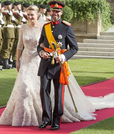Prince Guillaume Of Luxembourg and Princess Stephanie of Luxembourg leave the Cathedral of our Lady of Luxembourg after their wedding on October 20, 2012 in Luxembourg, Luxembourg