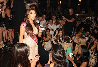 Kim Kardashian bid adieu to her days as a single gal with a big bash at Lao Las Vegas - complete with penis straws, dancers in underwear and a little person stripper!