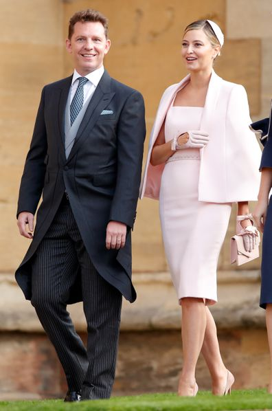 Nick Candy and Holly Valance attend the wedding of Princess Eugenie of York and Jack Brooksbank in 2018