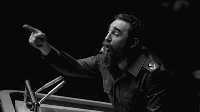 In this Oct. 12, 1979  photo, Cuban President, Fidel Castro, points during his lengthy speech before the United Nations General Assembly. (AAP)