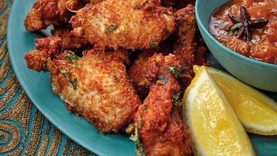 "Recipe: <a href=""http://kitchen.nine.com.au/2017/09/13/21/12/phuljhari-murgh-firecracker-fried-chicken-wings"" target=""_top"">Diwali Firecracker Chicken</a>"