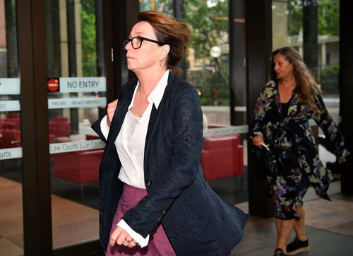 Jane Menelaus the wife of Australian actor Geoffrey Rush at Federal court today.