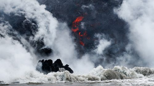 The lava has flowed into the ocean and created a toxic 'laze'. Picture: AP