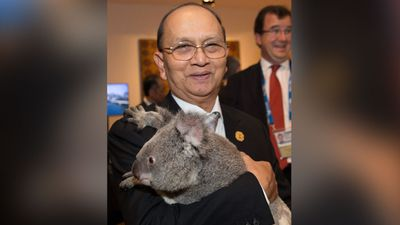 Myanmar's President U Thein Sein holds a koala before the start of the first G20 meeting yesterday. (Getty Images)