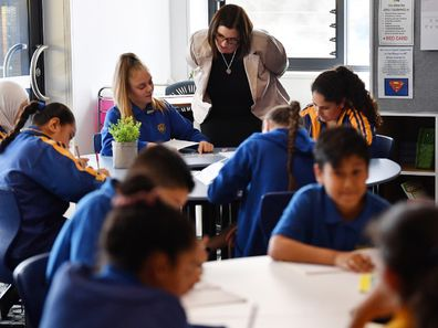 New South Wales Minister for Education Sarah Mitchell with school kids in Sydney.