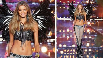 US model Kate Grigorieva closed the boho themed part of the show in her black feather wings. (Instagram)