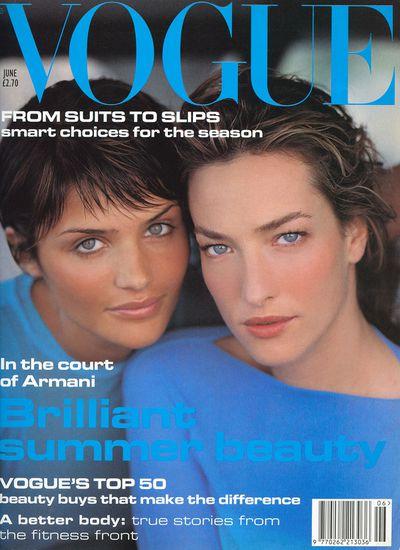 Helena Christen andTatjanaPatitz on the cover of <em>British Vogue</em>, June 1994