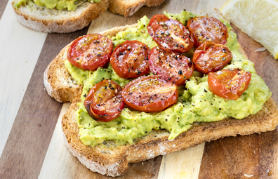 Smashed avocado and cherry tomato toast