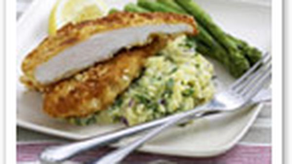 Almond-crumbed chicken with crushed kipflers