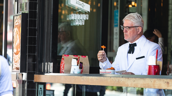 Man dressed like Colonel spotted eating Grill'd's healthier fried chicken