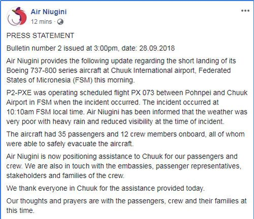 The airline has confirmed there were 35 passengers and 12 crew members on board, and all evacuated the aircraft safely when it crashed into the sea in Micronesia near Papua New Guinea.