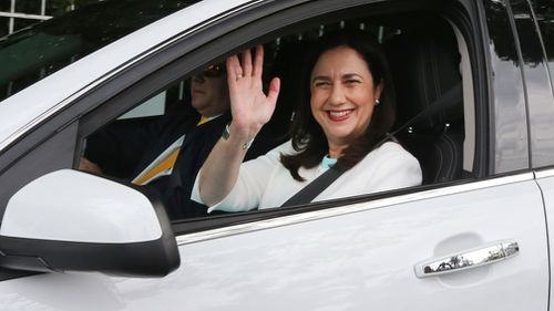 Annastacia Palaszczuk arrives at Government House to speak with the Governor. (Image: AAP)