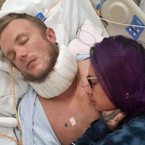 Danny Westwood in Fukushima University Hospital with his girlfriend Shay Nepia.