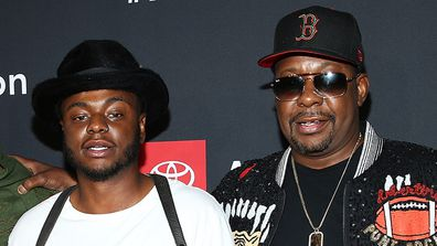 """Bobby Brown Jr and Bobby Brown attend BET and Toyota present the premiere screening of """"The Bobby Brown Story"""" at Paramount Theatre on August 29, 2018 in Hollywood, California."""