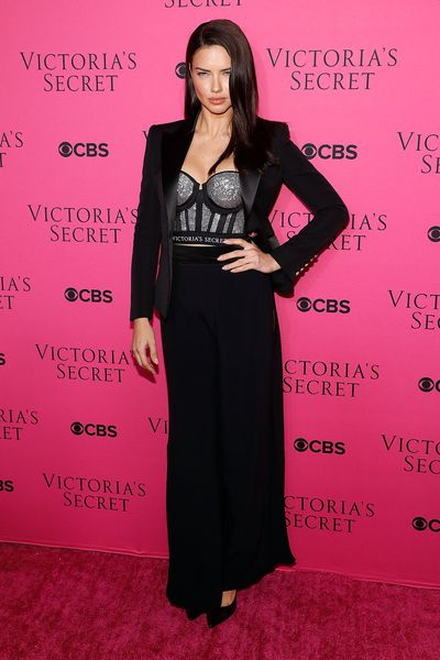 Adriana Lima in a Balmain x Victoria's Secret bustier at the Victoria's Secret viewing party in New York.